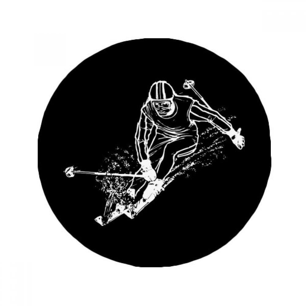 60X60cm DIYthinker Winter Sport Black Skiing Illustration Anti-Slip Floor Pet Mat Round Bathroom Living Room Kitchen Door 60 50Cm Gift