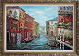 Framed Oil Painting 24''x36'' Parked Gondolas Water Street Pole Window Flowers Venice Italy Impressionism Ornate Frame