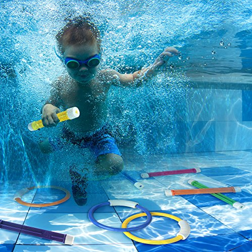 Swimming Pool Sink : Diving rings and sticks for swim dive water pool
