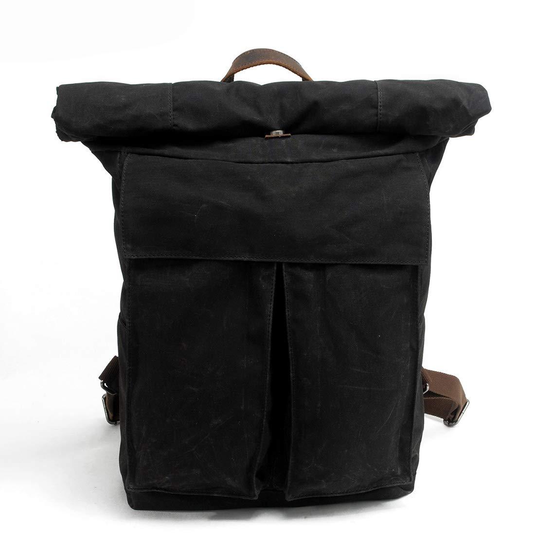 Vergeania 男性/女性バックパックデイパック防水ヴィンテージキャンバスパッケージカバータイプ学生アウトドアショッピングショルダーバッグ (色 : 黒)  黒 B07RTGPV4R