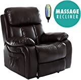 CHESTER HEATED LEATHER MASSAGE RECLINER CHAIR SOFA LOUNGE GAMING HOME ARMCHAIR (Brown)