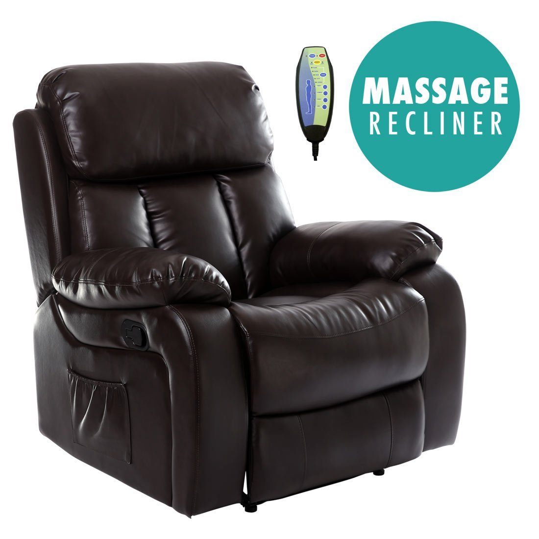 More4Homes (tm) CHESTER HEATED MASSAGE RECLINER BONDED LEATHER CHAIR SOFA LOUNGE GAMING HOME ARMCHAIR (Brown) Sonic Online Ltd