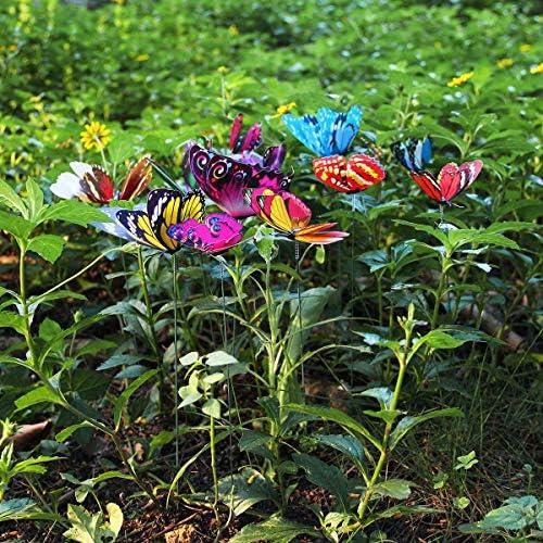 KOBWA - Estacas de jardín 3D con diseño de libélula/Mariposa 25 cm ...