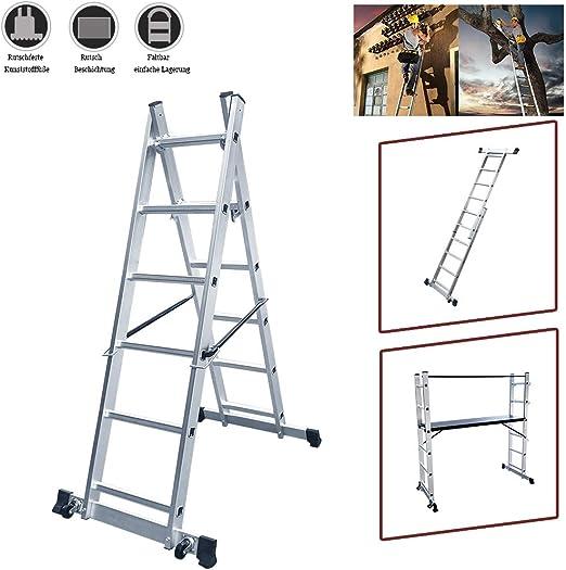 Armazón de aluminio LARS360, 3 en 1, escalera multifunción, escalera plegable, escalera con 2 x 6 peldaños y 1,47 m de superficie de trabajo, 2 ruedas, soporta hasta 150 kg: Amazon.es: Bricolaje y herramientas