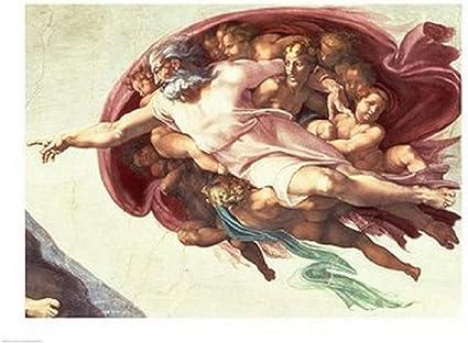Poster Michelangelo Buonarroti La creazione di Adamo Stampa su Carta