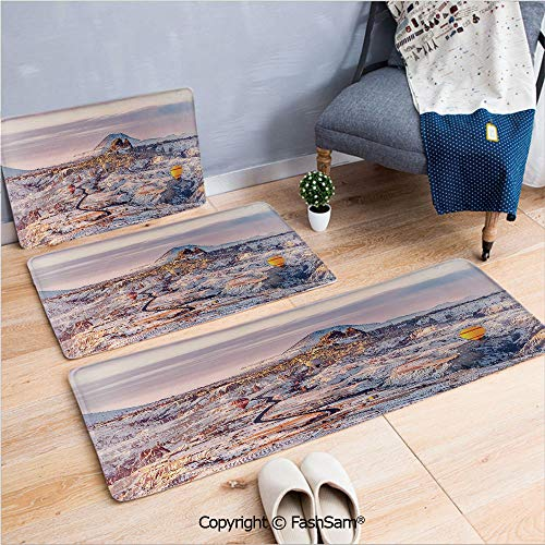 FashSam 3 Piece Non Slip Flannel Door Mat Cappadocia Turkey Landscape with Hot Air Balloons Anatolia Valley Geology Tourism Indoor Carpet for Bath Kitchen(W15.7xL23.6 by W19.6xL31.5 by W31.4xL47.2)
