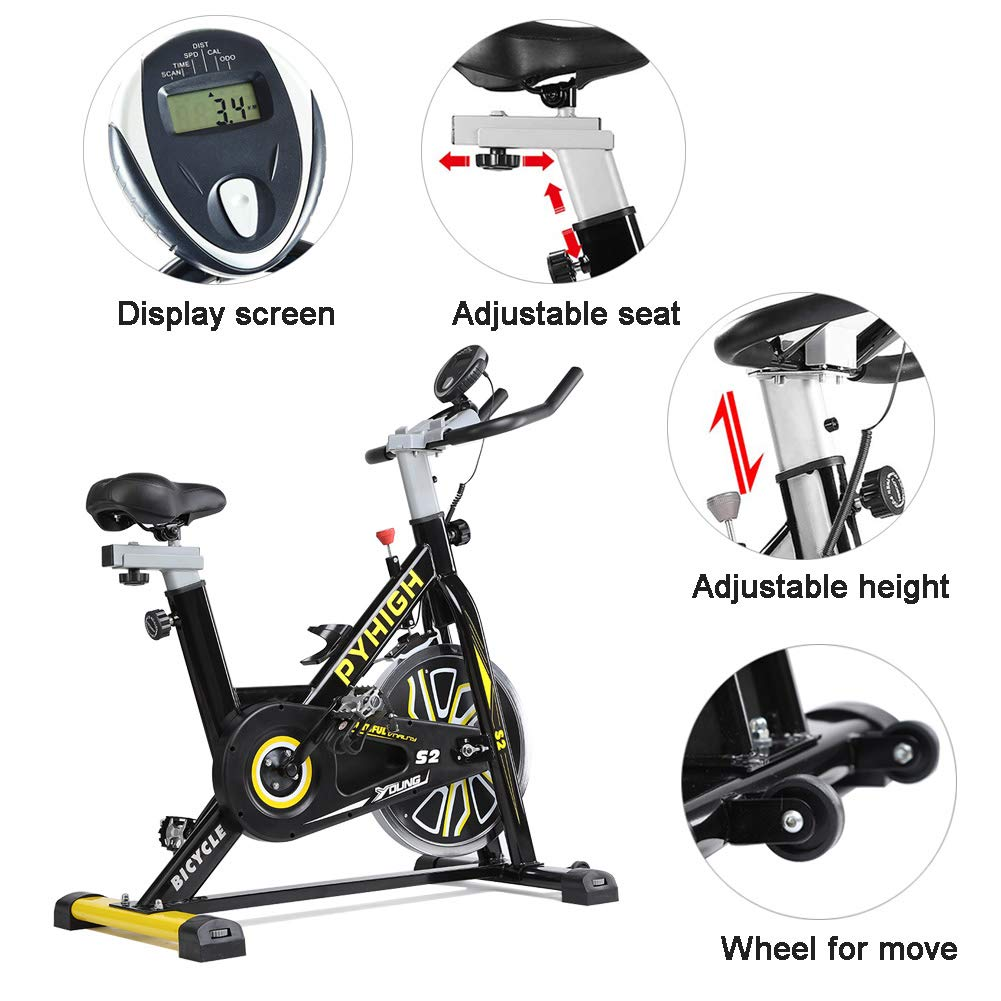 PYHIGH Indoor Cycling Bike Belt Drive Stationary Bicycle Exercise Bikes with LCD Monitor for Home Cardio Workout Bike Training- Black by PYHIGH (Image #6)