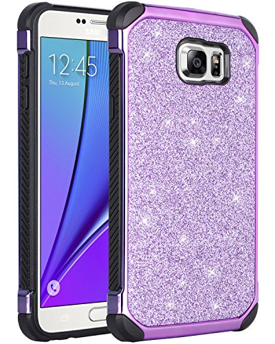 Note 5 Case, Galaxy Note 5 Case, BENTOBEN Purple Glitter Luxury Bling Hybrid Hard PC Laminated Sparkly Shiny Faux Leather Shockproof Bumper Protective Phone Case for Samsung Galaxy Note 5, Purple