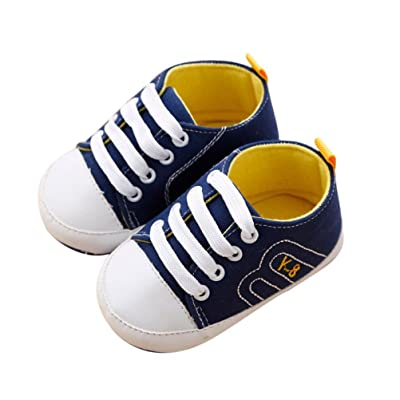 Auwer Newborn Infant Baby First Walkers Shoes Soft Sole Anti-slip Canvas Sneakers Bandage Prewalker Boots