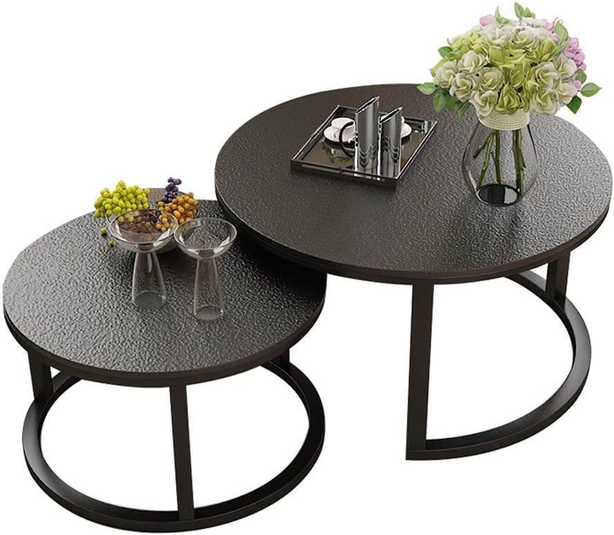 Nordic Fired Stone Glass Nesting Tables Set Of 2 Coffee Table Side Table Round Wrought Iron End Table Stainless Steel Foot Support Nesting Tables Amazon Co Uk Kitchen Home