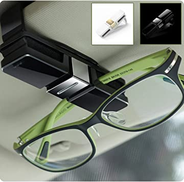 2 Pieces Car Auto Sun Visor Glasses Holder Double End Clip 180 Degree Rotating Mount with Ticket Card Clip for All Cars Gray + Silver