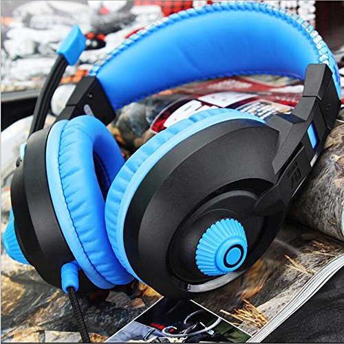 LILINA Bluetooth Headset Lightweight, Hi-Fi Stereo Wireless Headset, Foldable Headset, Built-In Microphone And Wired Mode, Esports Gaming Karaoke Headset Desktop Headset With Microphone,Blackblue by LILINA (Image #8)