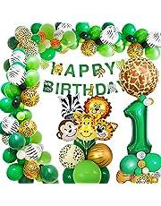 Jungle verjaardag decoratie 1 jaar, AcnA verjaardagsdecoratie jongens 1 jaar, kinderverjaardag decoratie safari Happy Birthday decoratie banner jungle ballonnen wild één decoratie jongen 1e verjaardag herbruikbaar