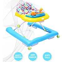 R for Rabbit Zig Zag Baby Walker - The Anti Fall Safe Baby Walker with Adjustable Height and Musical Toy Bar (Yellow Blue)