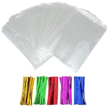 INTVN Bolsas de Celofán, Clear Treat Bags OPP Bolsas de Plástico con 5 Colores Twist Ties para Boda Navidad Fiesta Favor, 200 Piezas, 6 x 9 Pulgadas