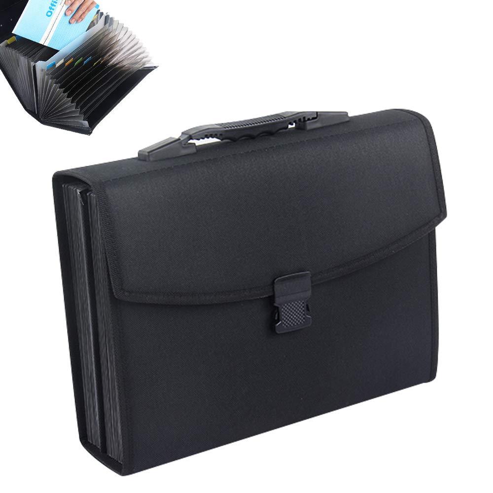 Oak-Pine 26 Pockets Expanding File Folder - Large Oxford A4 US Letter Size Expandable File Organizer Self Document Accordion File Folder Wallet Briefcase Business Filing Box with Handle(Black)