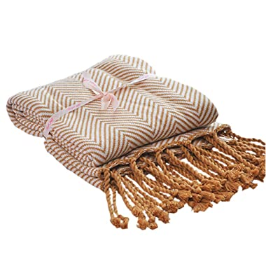 LakeMono 100% Cotton Throw Blanket Super Soft Herringbone Pattern Europe American Style Couch Cover Knitted Blanket with Tassels (Coffee,50''x76'')