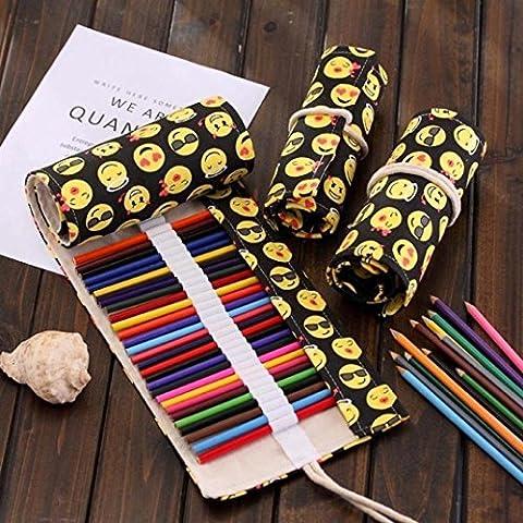 Colored Pencils Holder,GOODCULLER 36 Pencils Case,Canvas Roll up Wrap Bag Pouch For Gen Pens,Colored Pencils Set (Large Needle Point Set)