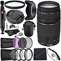 Canon EF 75-300mm f/4-5.6 III Lens + 58mm Multicoated UV Filter + LENS CAP 58MM + 58mm Lens Hood + SLR Lens Pouch + Lens Pen Cleaner + Microfiber Cleaning Cloth + Lens Cap Keeper Bundle