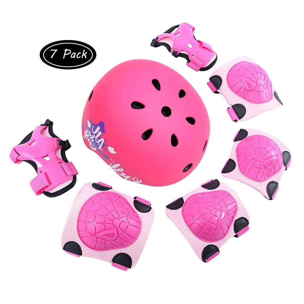 Kid's Cycling Protective Gear Set Knee Pink/Girl (Size : M)