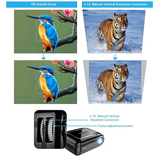 OIQQ Leshp-Bl58 - Proyector LED portátil Hdmi Vga WiFi para ...