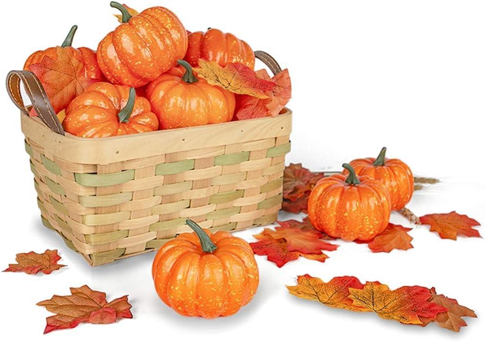 HZAMING Calabazas Artificiales para decoración, 10 Mini Calabazas Falsas con 30 Hojas de Arce realistas, Verduras Artificiales para Halloween, Acción de Gracias, Adornos de otoño