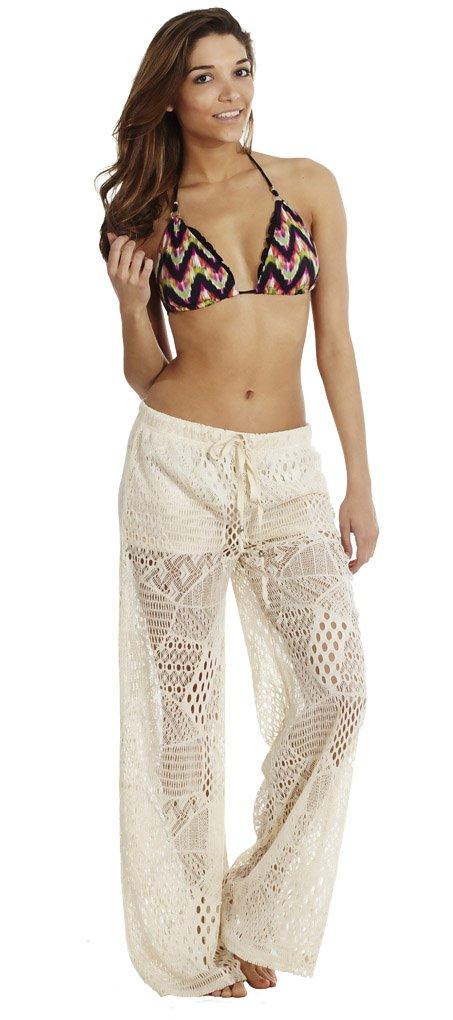 Golden Black Women's Wide Leg Crochet Pants Ivory L