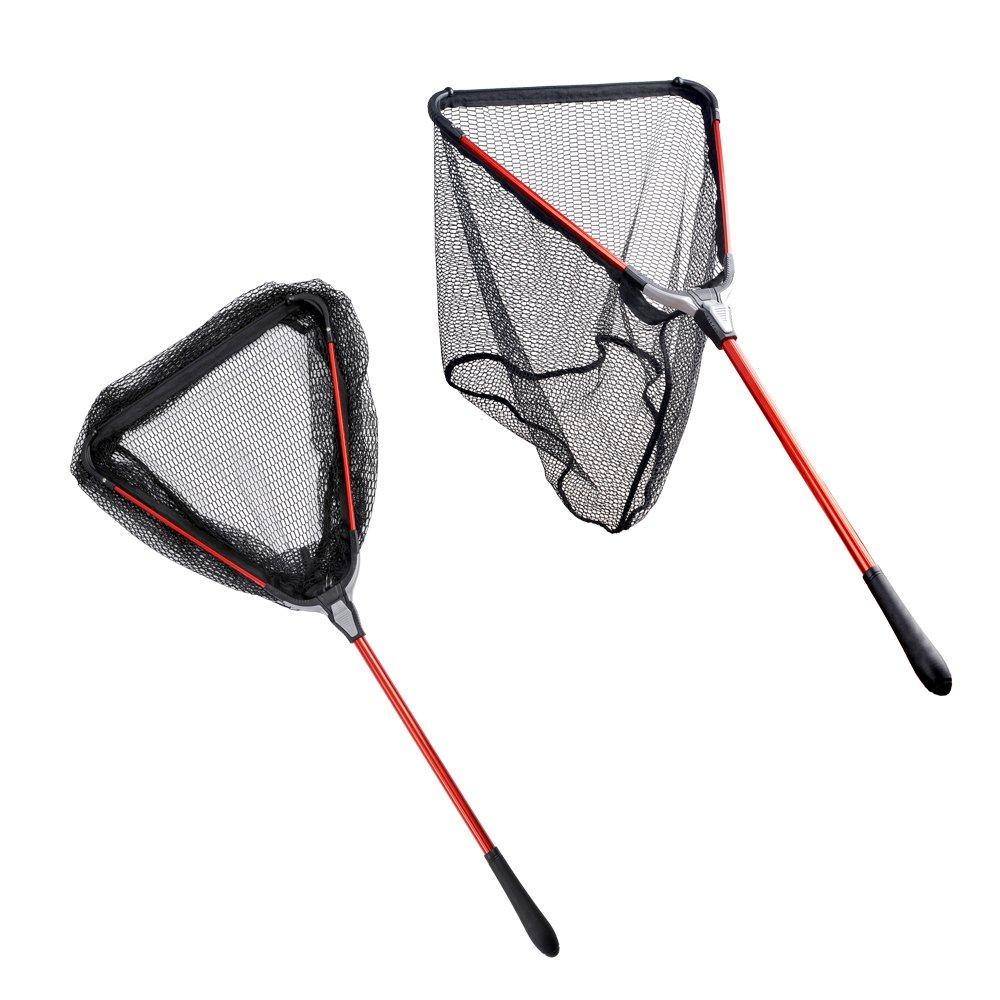 Fiblink Folding Aluminum Fishing Landing Net Fish Net with Extending Telescoping Pole Handle (Extend Length: 23-37 inches)