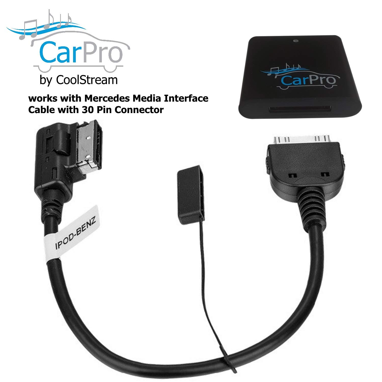 CoolStream Bluetooth Adapter for 2011 or Earlier Mercedes iPod iPhone 30 Pin Cable CarPro