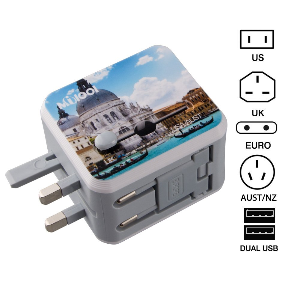 Travel Adapter Adattatore Universale da Viaggio con 2 USB 3.0 (US / EU / UK / AU)Caricatore Multifunzioni per Oltre 150 Paesi Internazionale di Potere di Corsa Spina-Milool(176Green) IT-176green