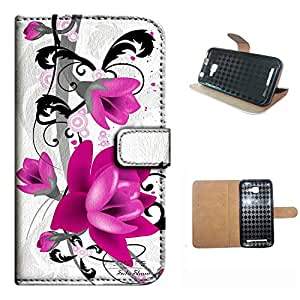 DASH 5.0+/D412U case, SoloShow(R) BLU DASH 5.0+/D412U 5.0 inch case High Quality PU Leather Wallet Flip case, rose pink flowers pattern (6)