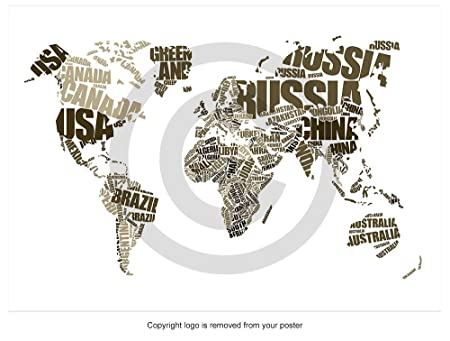 World map word cloud typography art countries white poster print world map word cloud typography art countries white poster print p2674 sepia size a0 gumiabroncs Image collections