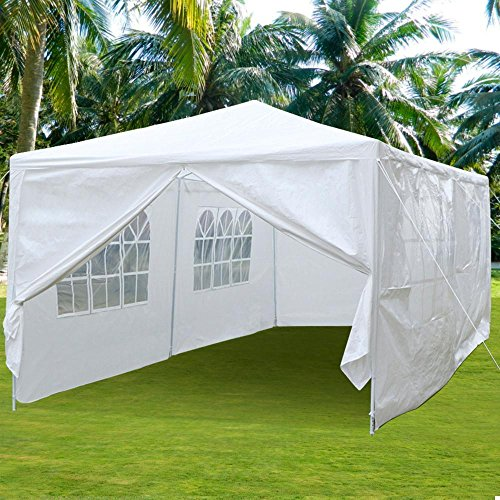 Yaheetech Large Heavy Duty Party Tent 10x20ft for Outdoor Wedding Event Dancing Party Gazebo Canopy with 6 Pcs Removable Side-Walls & 2 Zip Doors White (Gazebo Frame Zip)