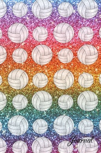 (Journal: Faux rainbow glitter volleyball notebook)