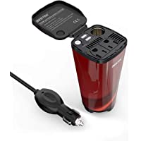 Bestek 200W Car Power Inverter with 2 AC Outlets and 4.5A Dual USB Charging Ports Car Adapter with Car Cigarette Lighter Socket (Red)