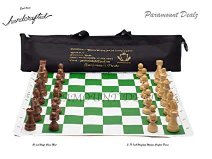 Paramount Dealz Professional Vinyl Chess Mat Set Fide Standards with 4 Weighted Wooden Pieces with Bag Included (Green, 20x 20)