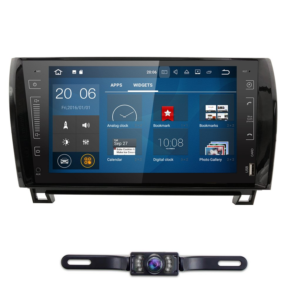 In Dash Android 7.1.1 Double Din 9 Inch Capacitive Touch Screen Car Stereo Video Receiver Player GPS Navigation with Bluetooth for Toyota Tundra Sequoia Multi-Media 7 Color Button illumination