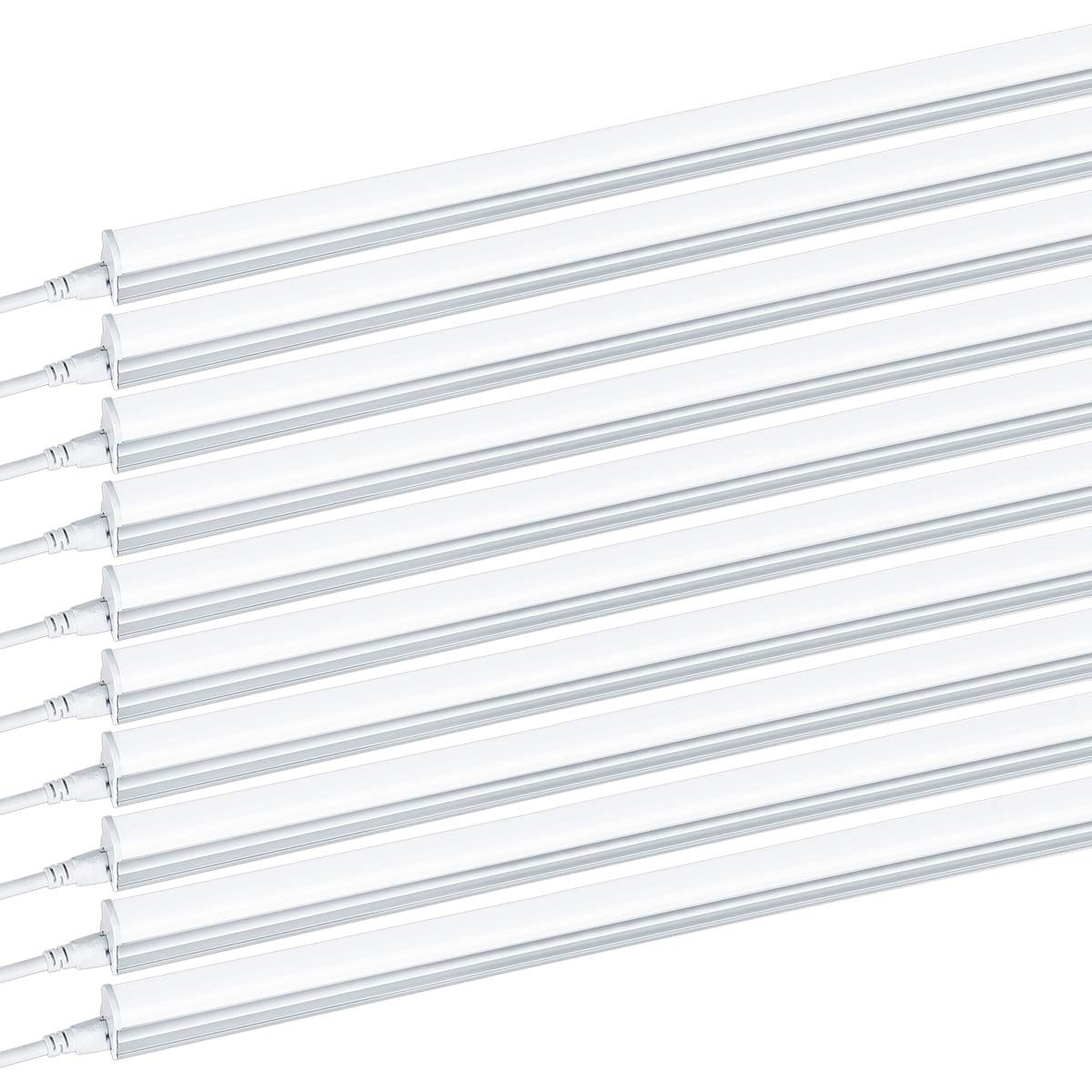 Brillihood T5 Integrated LED Single Light Fixture, 4FT, 2200lm, 6000K (Bright White) Milky Cover, 20W Utility Shop Light, Kitchen, Ceiling and Under Cabinet Light Tube with ON/Off Switch (10-Pack) by Brillihood