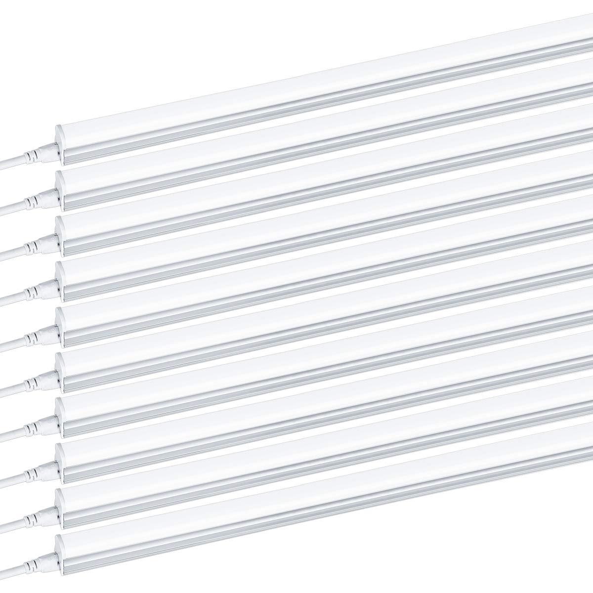 10 PACK T5 4FT Linkable LED Shop Light 6000K Daylight