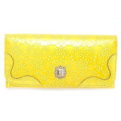 df8eb703aca7 アナスイ ANNA SUI 財布 長財布 レディース がま口 ルーミー 型押し 310491 イエロー