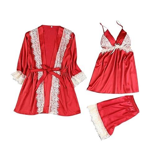 Luckycat Ropa Interior Lencería Mujer Seda Vestido de Bata de Encaje Babydoll Camisón Ropa de Dormir Kimono Conjunto Sexy Pijama de Encaje Sexy camisón ...
