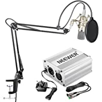 Neewer NW-700 Condenser Microphone Kit - Mic and 48V Phantom Power Supply(Silver),NW-35 Boom Scissor Arm Stand with Shock Mount and Pop Filter(Black),XLR Male to Female Cable for Home Studio Recordin