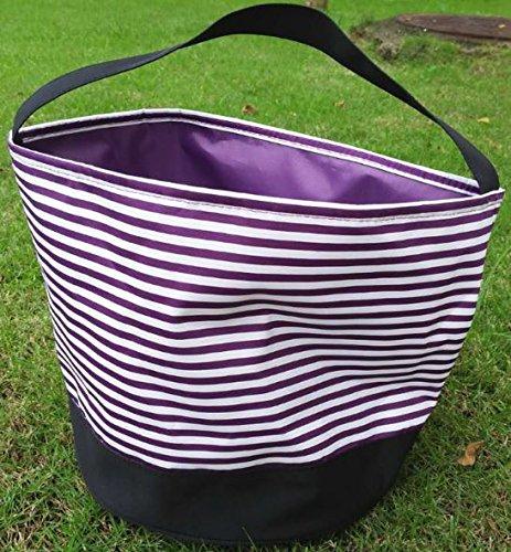 Treats Halloween Pail (Jolly Jon Halloween Candy Bag Trick or Treat Goody Bags - Reusable Easter Basket Durable Handled Design - Dots, Stripes, Pumpkin, Skulls, Bats, Canvas Bucket Bag by)