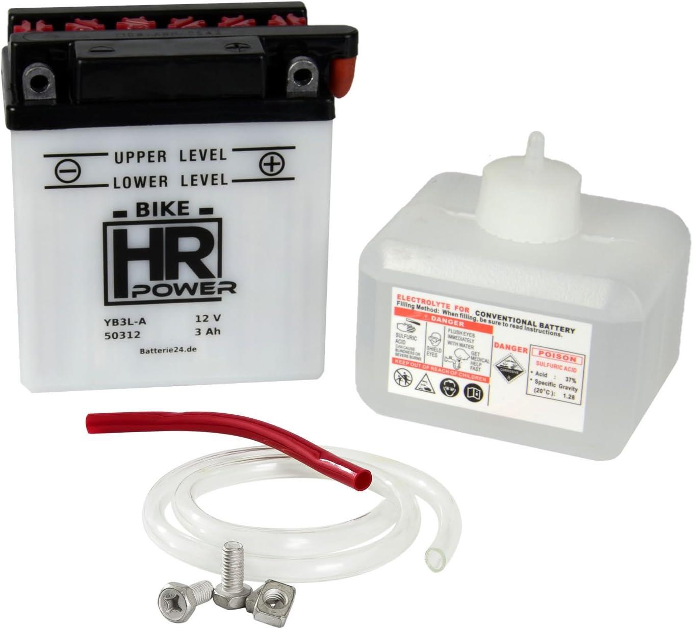 Motorrad Batterie Starterbatterie 12V 3Ah YB3L-A 50312