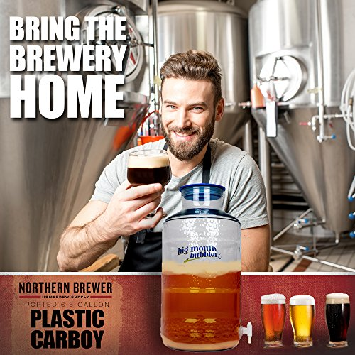 Northern Brewer - Big Mouth Bubbler PET Plastic Carboy Fermentor With Wide Mouth Universal Single Port Lid And Spigot For Fermentation Of Home Brewing And Wine Making (6.5 Gallon Ported) by Northern Brewer (Image #4)'