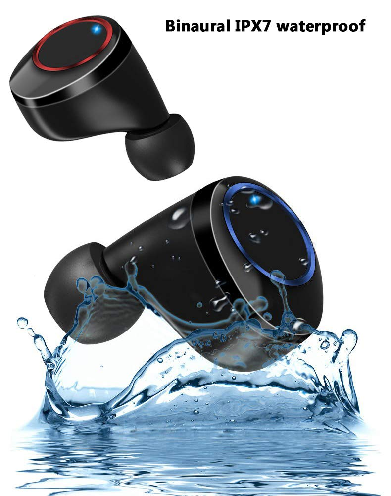 Wireless Earbuds, BLZK Latest Bluetooth 5.0 True Wireless Bluetooth Earbuds, with bass 3D Stereo Sound Wireless Headphones, Built-in Microphone LED Digital Shows Charging Charge Black