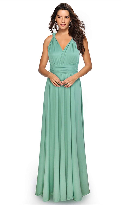 Light Green Clothink Women's Congreenible Wrap Multi Way Party Long Maxi Dress