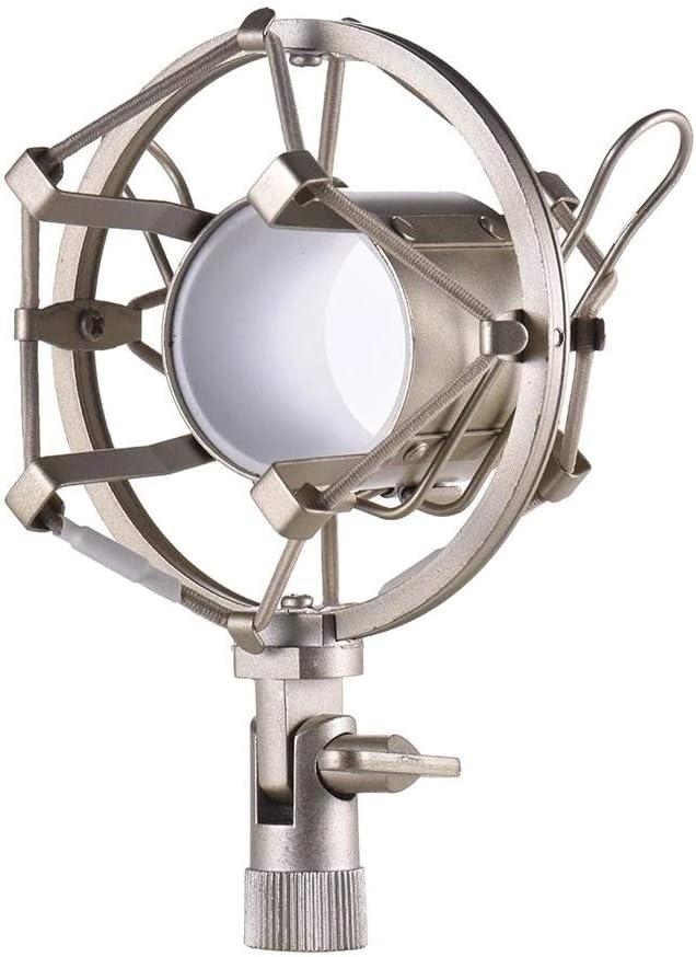 KYEEY Supporto per Microfono Titolare Microfono Shock Mount Metallo Univerdal Microfono a condensatore Mic Shock Mount Staffa antivibrante Black Gold Supporto per Microfono Professionale
