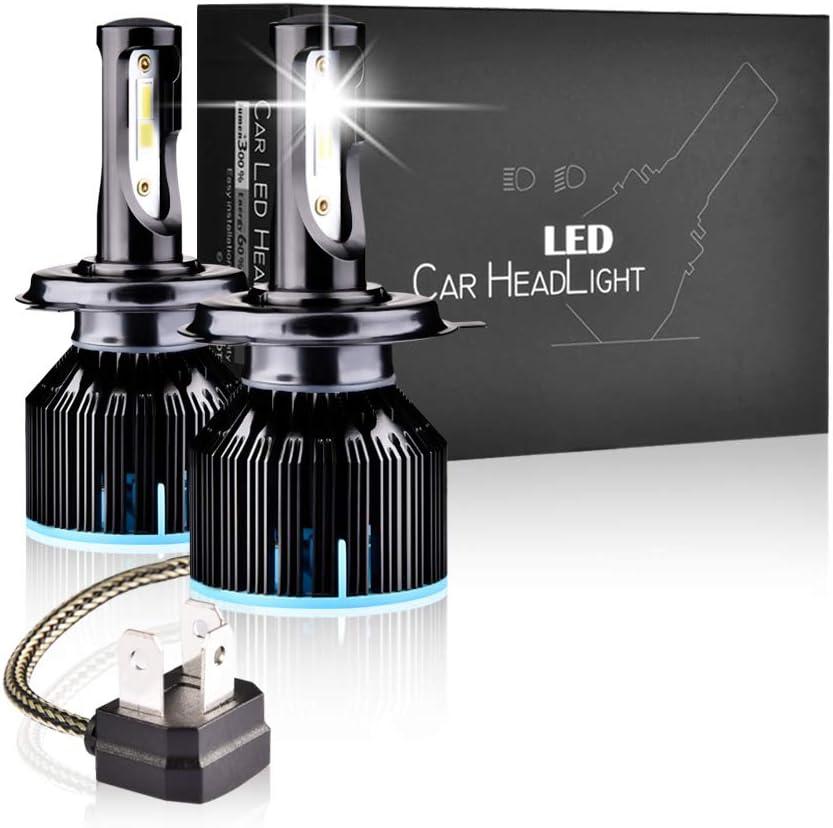 LTPAG Bombilla H4 LED Coche, 2019 Novísimo 2pcs 72W Lampara H4 LED 12V/36V Luces LED Coche H4, 12000LM Faros Reemplazo de Halógena y Kit Xenón H4, Blanco 6000K, Garantía de 2 años