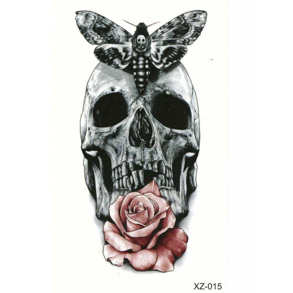 JUSTFOX - Temporäres Tattoo Totenkopf Skull Motte: Amazon.de: Beauty